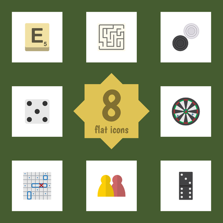 Flat Icon Entertainment Set Of Arrow, People, Mahjong And Other Vector Objects. Also Includes Arrow, Mahjong, Labyrinth Elements. Illustration