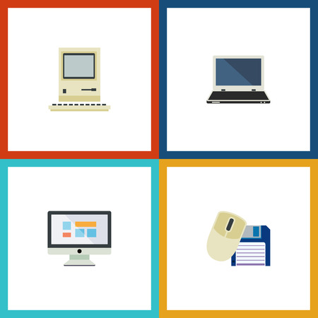 Flat Icon Computer Set Of Computing, Computer Mouse, Display And Other Vector Objects. Also Includes Display, Monitor, Computer Elements.