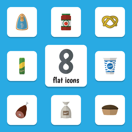 Flat Icon Eating Set Of Ketchup, Spaghetti, Cookie And Other Vector Objects. Also Includes Pasta, Beef, Spaghetti Elements.