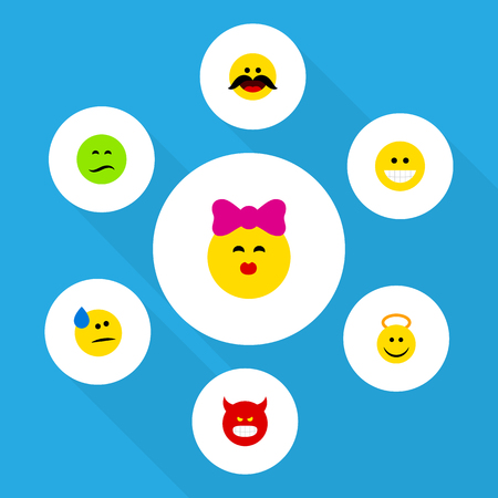 Flat Icon Face Set Of Tears, Caress, Pouting And Other Vector Objects. Also Includes Kiss, Laugh, Tears Elements.