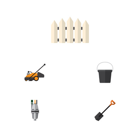 Flat Icon Farm Set Of Spade, Wooden Barrier, Pail And Other Vector Objects. Also Includes Barrier, Tool, Wooden Elements.