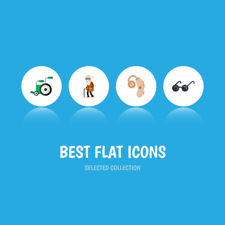 Flat Icon Handicapped Set Of Equipment, Audiology, Ancestor And Other Vector Objects. Also Includes Audiology, Aid, Eyeglasses Elements. Illustration