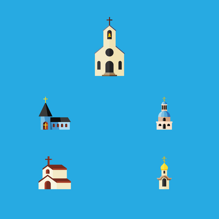 Flat Icon Church Set Of Building, Church, Structure And Other Vector Objects. Also Includes Church, Faith, Building Elements. Illustration