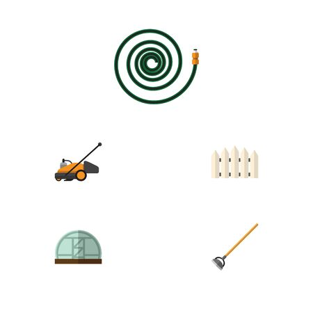 Flat Icon Farm Set Of Hothouse, Hosepipe, Lawn Mower And Other Vector Objects. Also Includes Mower, Hose, Gardening Elements.