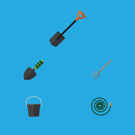 Flat Icon Garden Set Of Hay Fork, Pail, Spade And Other Vector Objects. Also Includes Hose, Spade, Bucket Elements.