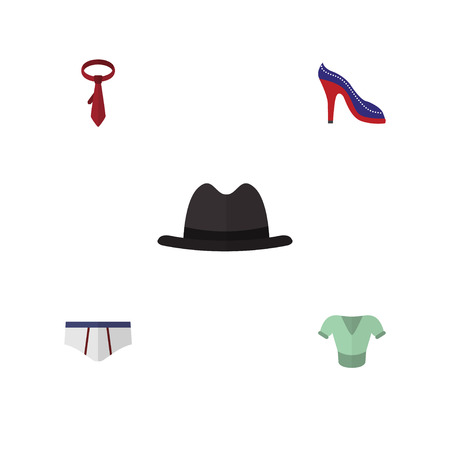 Flat Icon Dress Set Of Cravat, Casual, Underclothes And Other Vector Objects. Also Includes Underclothes, Briefs, Hat Elements.