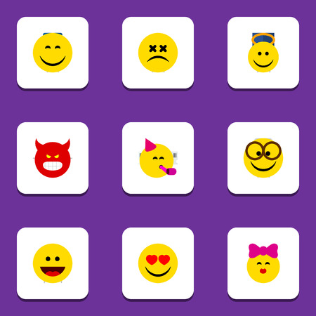 enraged: Flat Icon Face Set Of Pleasant, Caress, Laugh And Other Vector Objects. Also Includes Face, Kiss, Grin Elements.