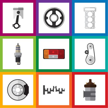 Flat Icon Parts Set van metaal, koplamp, riem en andere vectorobjecten. Bevat ook metaal, demper, tandwielelementen.