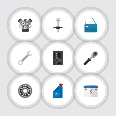 Flat Icon Auto Set Of Motor, Petrol, Spanner And Other Vector Objects. Also Includes Silent, Jerrycan, Automatic Elements. Illusztráció