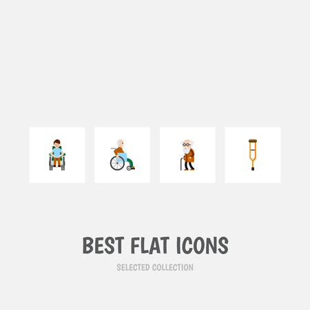 Flat Icon Cripple Set Of Handicapped Man, Disabled Person, Ancestor Vector Objects. Also Includes Stick, Ancestor, Handicapped Elements.