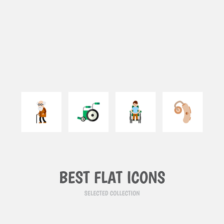 Flat Icon Disabled Set Of Audiology, Equipment, Disabled Person And Other Vector Objects. Also Includes Ancestor, Handicapped, Hearing Elements.