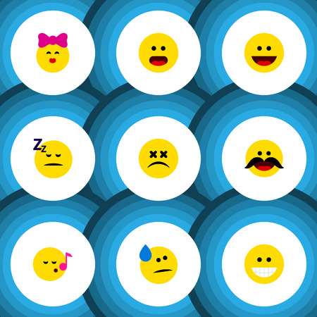 Flat Icon Emoji Set Of Cross-Eyed Face, Caress, Descant And Other Vector Objects. Also Includes Face, Kiss, Dizzy Elements.