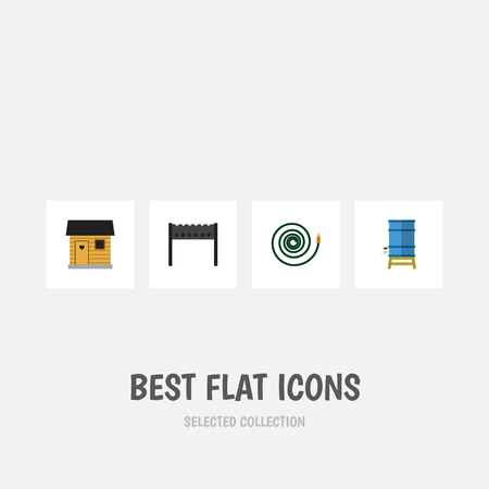 bbq barrel: Flat Icon Garden Set Of Barbecue, Stabling, Container And Other Vector Objects. Also Includes Bbq, Garden, Hose Elements.