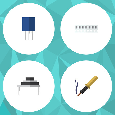 Flat Icon Electronics Set Of Destination, Receptacle, Memory And Other Vector Objects. Also Includes Recipient, Soldering, Memory Elements.