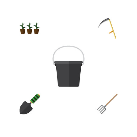 Flat Icon Farm Set Of Pail, Cutter, Hay Fork And Other Vector Objects. Also Includes Tool, Pitchfork, Trowel Elements.