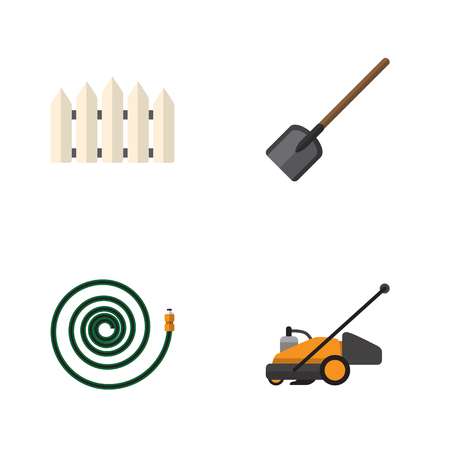 Flat Icon Garden Set Of Shovel, Wooden Barrier, Lawn Mower And Other Vector Objects. Also Includes Fence, Garden, Shovel Elements.