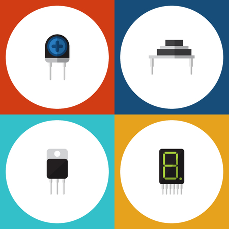 Flat Icon Electronics Set Of Destination, Transducer, Display And Other Vector Objects. Also Includes Transistor, Set, Display Elements. Illustration