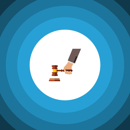 Isolated Court Flat Icon. Crime Vector Element Can Be Used For Crime, Court, Hammer Design Concept.