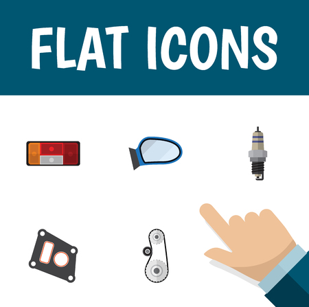 automotive industry: Flat Icon Auto Set Of Spare Parts, Auto Component, Cambelt And Other Vector Objects. Also Includes Wing, Mirror, Gasket Elements. Illustration