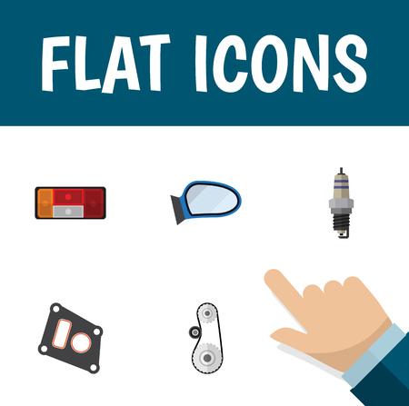 Flat Icon Auto Set van reserveonderdelen, Auto Component, Cambelt en andere Vectorobjecten. Bevat ook vleugel, spiegel, pakkingselementen.