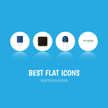 Flat Icon Device Set Of Transducer, Receptacle, Memory And Other Vector Objects. Also Includes Recipient, Memory, Access Elements. Illustration
