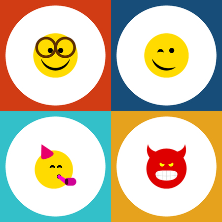 Flat Icon Face Set Of Party Time Emoticon, Winking, Pouting And Other Vector Objects. Also Includes Fun, Smile, Happy Elements.