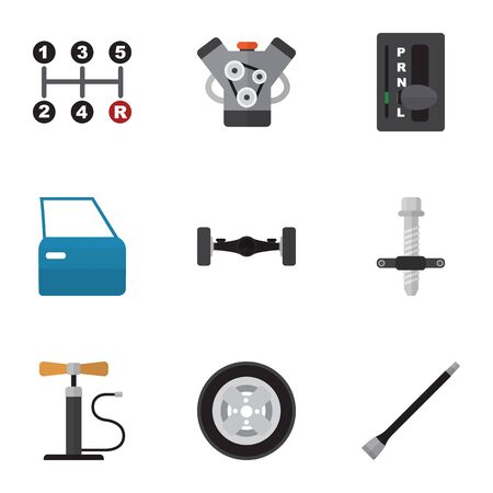 Flat Icon Auto Set Of Tire, Muffler, Automobile Part And Other Vector Objects. Also Includes Door, Motor, Automobile Elements.