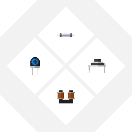 Flat Icon Appliance Set Of Coil Copper, Destination, Resistor And Other Vector Objects. Also Includes Spool, Copper, Transducer Elements. Illustration