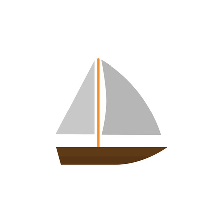 Isolated Vessel Flat Icon. Yacht  Vector Element Can Be Used For Boat, Yacht, Vessel Design Concept.