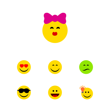 Flat Icon Emoji Set Of Frown, Laugh, Happy And Other Vector Objects. Also Includes Joy, Laugh, Face Elements. Illustration