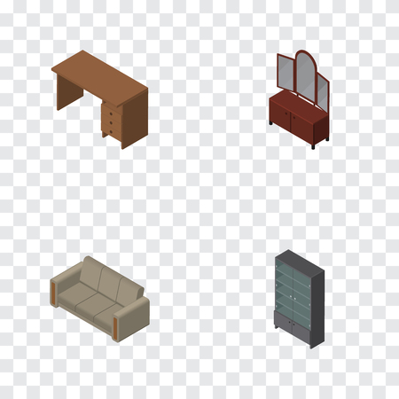 Isometric Design Set Of Drawer, Couch, Sideboard And Other Vector Objects. Also Includes Mirror, Sofa, Cupboard Elements.