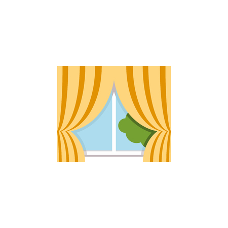 Isolated Curtain Flat Icon. Glass Frame Vector Element Can Be Used For Curtain, Glass, Frame Design Concept. Illustration
