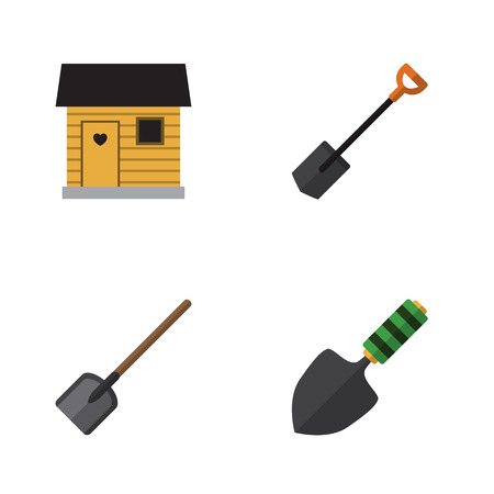 Flat Icon Garden Set Of Shovel, Stabling, Trowel And Other Vector Objects. Also Includes Tool, Spade, Shovel Elements.