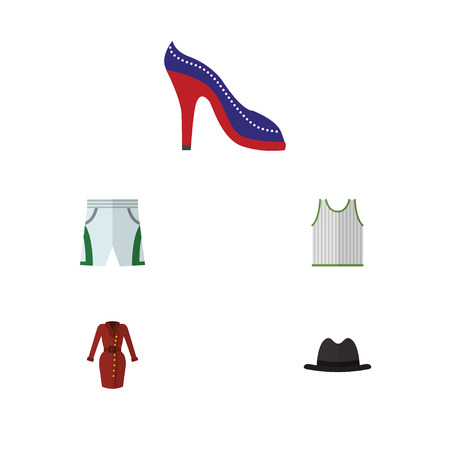 Flat Icon Clothes Set Of Clothes, Singlet, Heeled Shoe And Other Vector Objects. Also Includes Sleeveless, Trunks, Shorts Elements.