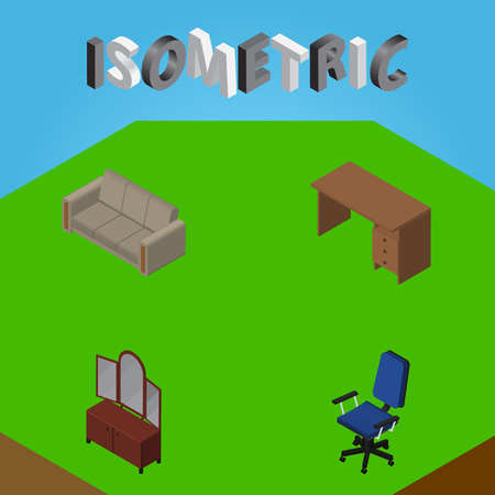 Isometric Design Set Of Couch, Office, Table And Other Vector Objects. Also Includes Office, Couch, Sofa Elements.