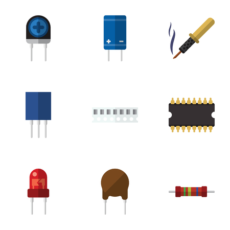 Flat Icon Appliance Set Of Triode, Microprocessor, Memory And Other Vector Objects. Also Includes Receptacle, Transistor, Fiildistor Elements.