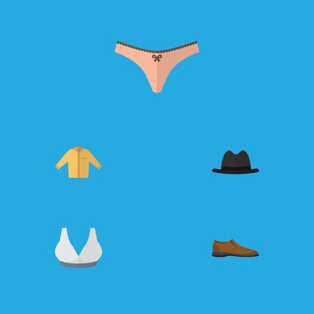 Flat Icon Clothes Set Of Male Footware, Brasserie, Panama And Other Vector Objects. Also Includes Fedora, Lingerie, Man Elements. Illustration
