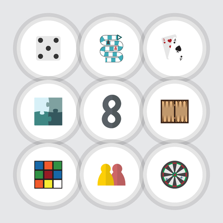 backgammon: Flat Icon Play Set Of Cube, Backgammon, Jigsaw And Other Vector Objects. Also Includes Gambling, Dice, Ace Elements.