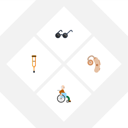 Flat Icon Cripple Set Of Audiology, Stand, Spectacles Vector Objects. Also Includes Eyeglasses, Stick, Hearing Elements.