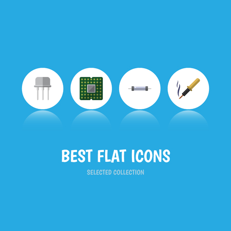 Flat Icon Electronics Set Of Repair, Resistor, Unit And Other Vector Objects. Also Includes Resistor, Processor, Electronics Elements. Illustration