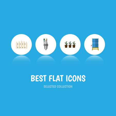 Flat Icon Garden Set Of Container, Flowerpot, Pump And Other Vector Objects. Also Includes Flowerpot, Fence, Wooden Elements. Illustration