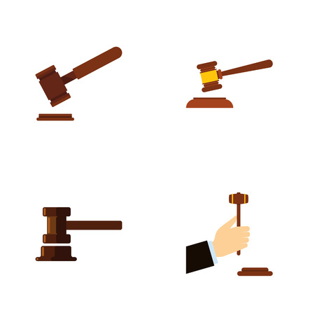 Flat Icon Hammer Set Of Hammer, Law, Justice And Other Vector Objects. Also Includes Courthouse, Legal, Court Elements.