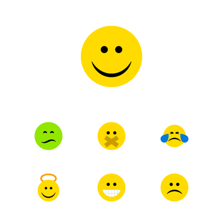Flat Icon Face Set Of Grin, Joy, Cold Sweat And Other Vector Objects. Also Includes Smile, Tears, Angel Elements. Illustration