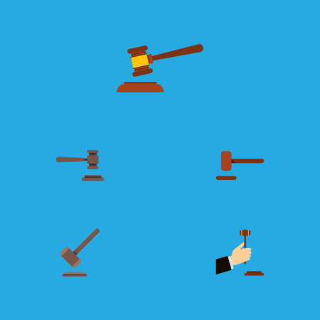 Flat Icon Court Set Of Hammer, Tribunal, Legal And Other Vector Objects. Also Includes Court, Hammer, Law Elements.