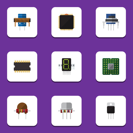 Flat Icon Appliance Set Of Microprocessor, Resistance, Resist And Other Vector Objects. Also Includes Motherboard, Cpu, Semiconductor Elements.