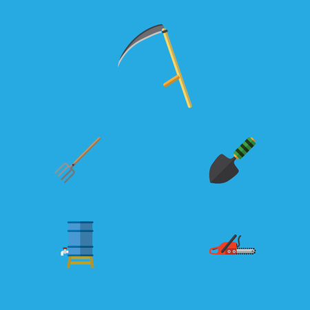 Flat Icon Dacha Set Of Hacksaw, Hay Fork, Trowel And Other Vector Objects. Also Includes Spatula, Shovel, Scythe Elements. Illustration