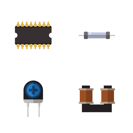 Flat Icon Device Set Of Resistor, Coil Copper, Microprocessor And Other Vector Objects. Also Includes Transistor, Copper, Transducer Elements.