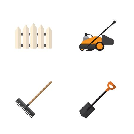 Flat Icon Garden Set Of Lawn Mower, Harrow, Wooden Barrier And Other Vector Objects. Also Includes Cutter, Harrow, Rake Elements.