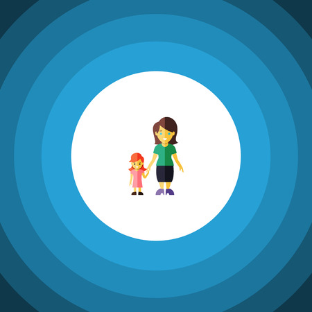 Isolated Gril Flat Icon. Mother Vector Element Can Be Used For Mother, Son, Family Design Concept. Illustration