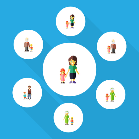 Flat Icon Family Set Of Grandma, Grandchild, Boys Vector Objects. Also Includes Brother, Family, Grandson Elements.